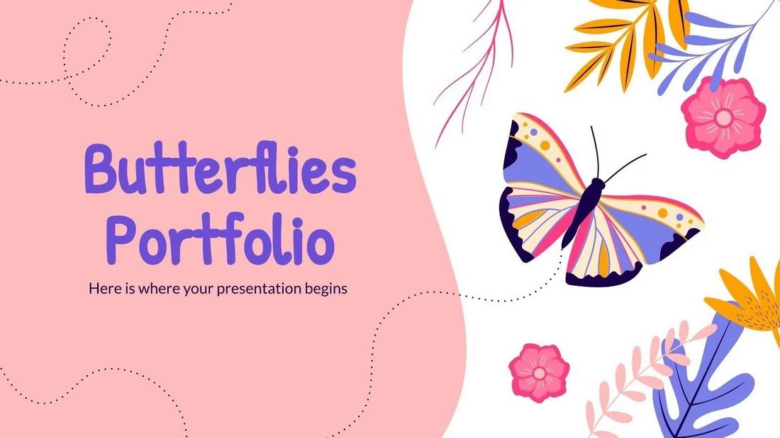 Kupu-kupu - Template PPT Portofolio Seni Gratis