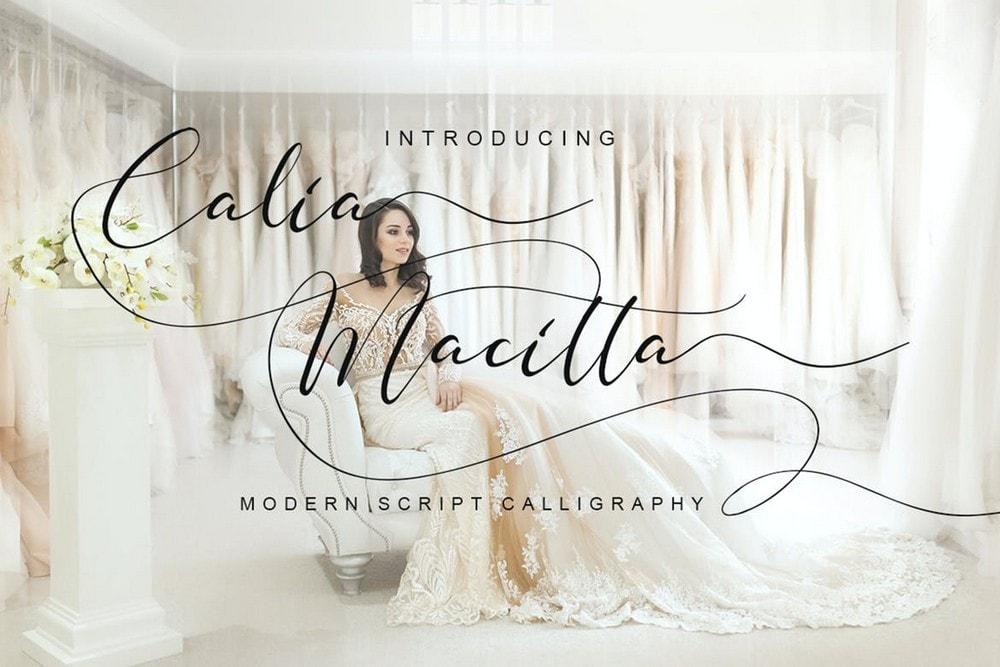 Calia Macitta - Font Pernikahan Script Modern