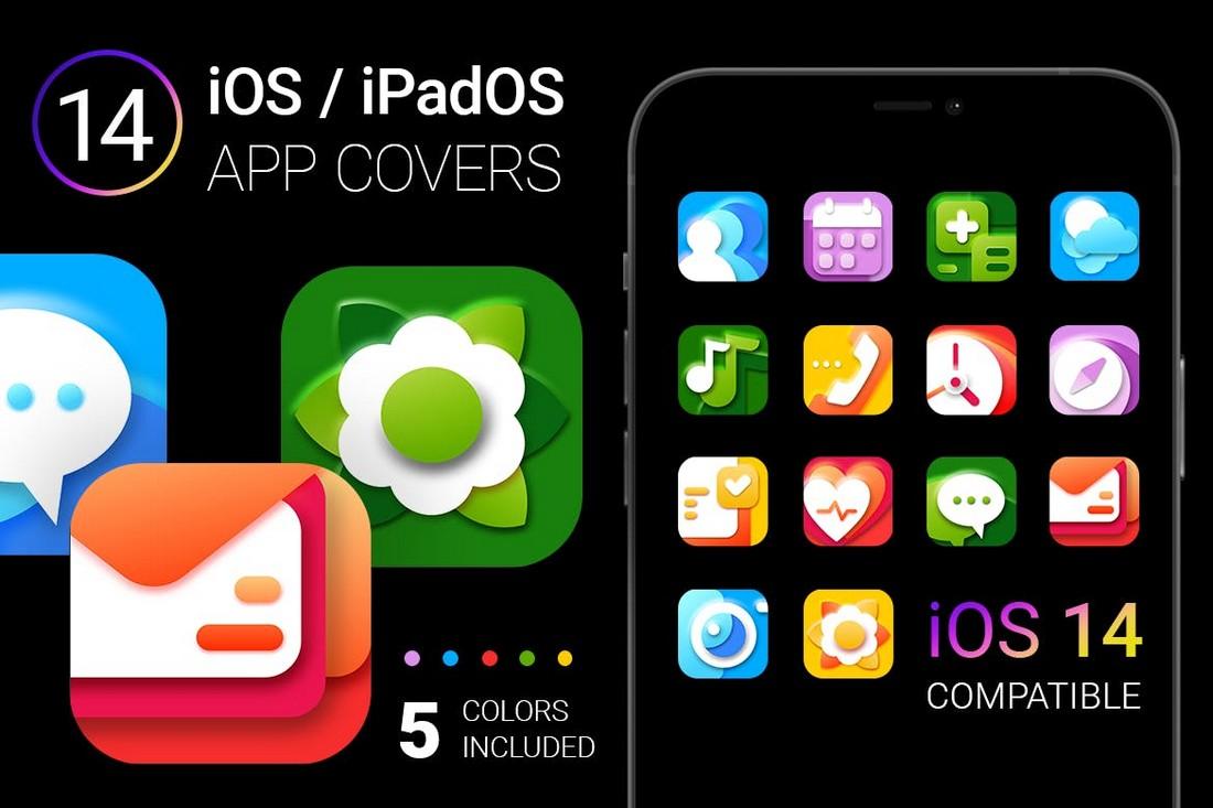 Paket Ikon Aplikasi iOS 14 Berwarna-warni