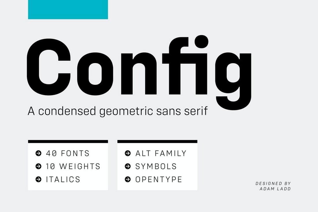 Config - Keluarga Font Geometris Lengkap