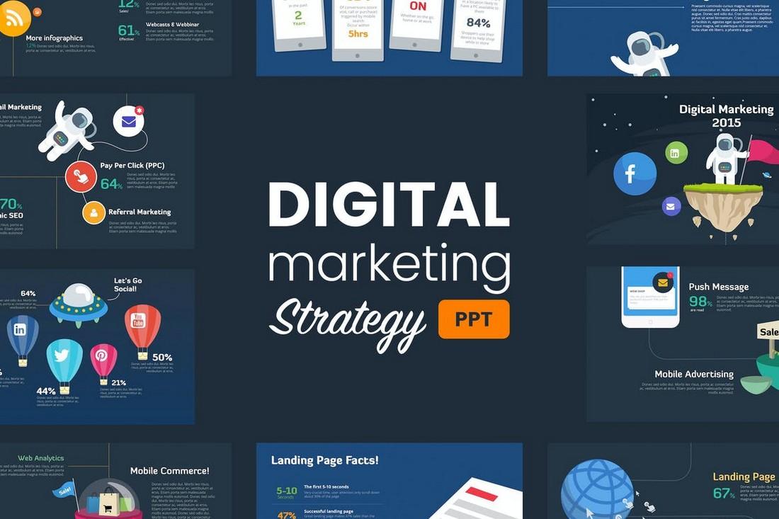 Templat Powerpoint Konsultasi Strategi Pemasaran Digital