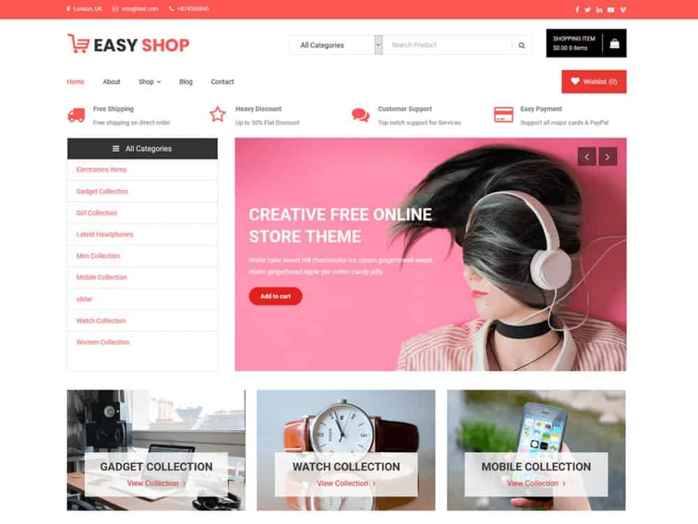 Easy Shop - Free Online Store WordPress Theme