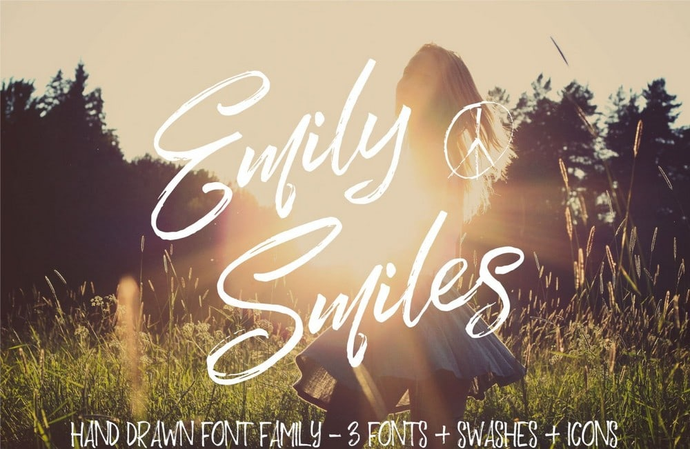 Emily Smiles - Handmade Brush Wedding Font