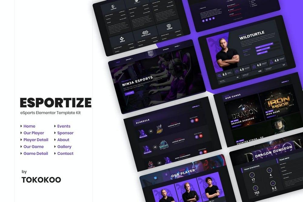 Esportize - eSports Elementor Template Kit