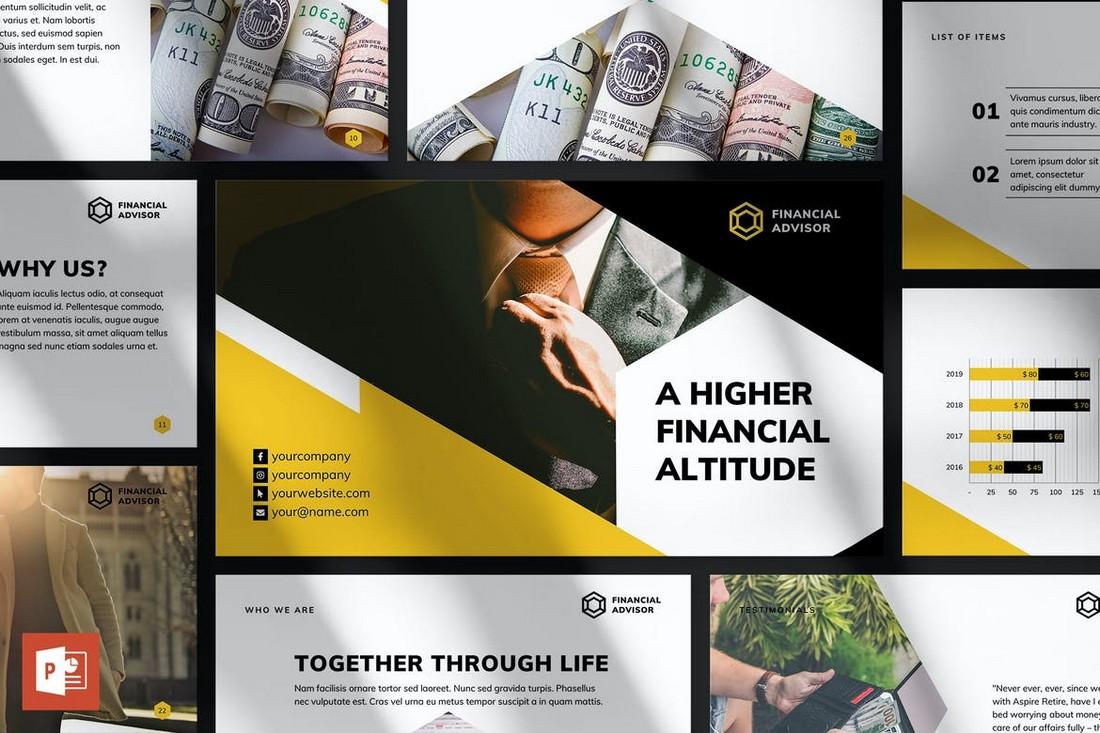 Templat Presentasi PowerPoint Penasihat Keuangan