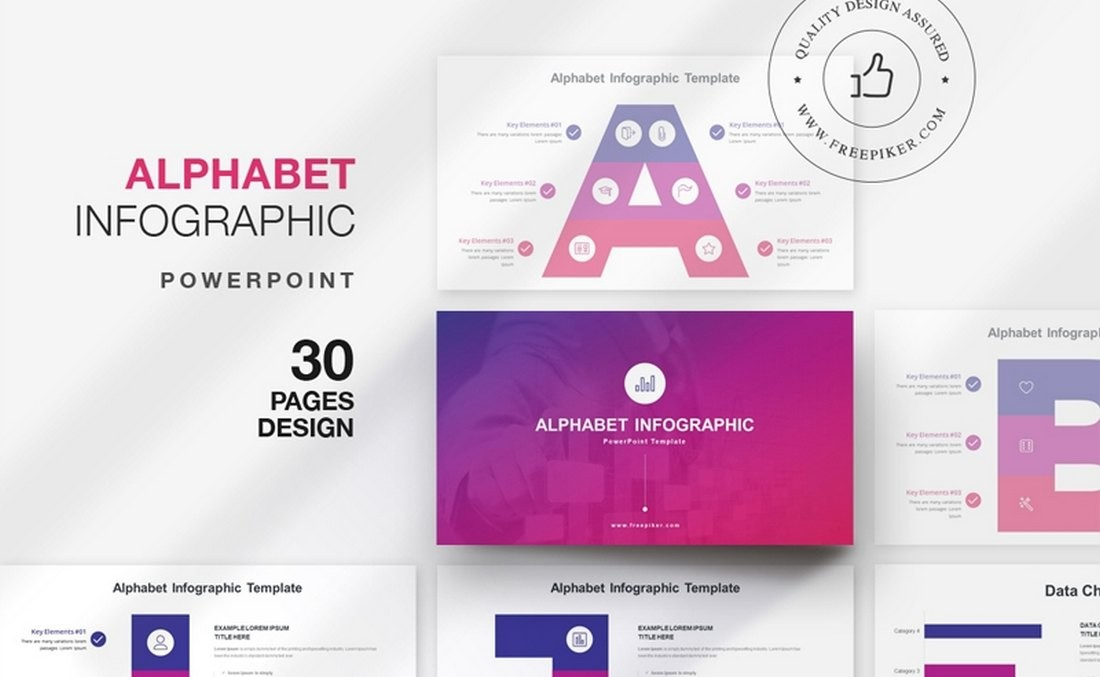 Template PowerPoint Infografis Alphabet Gratis