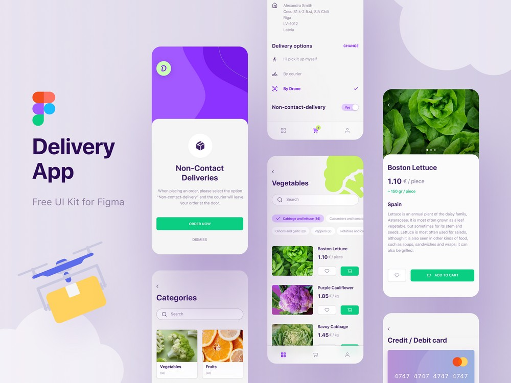 Free Delivery App Figma UI Kit