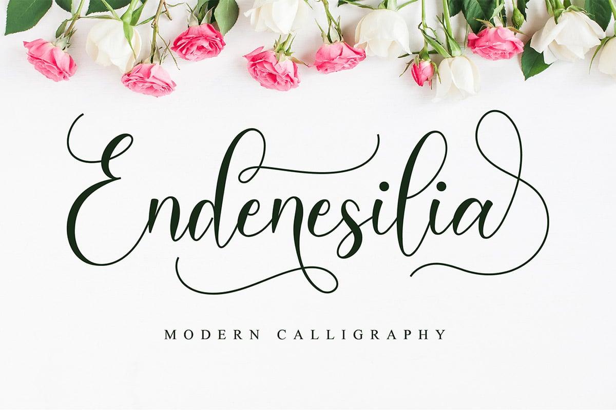 Font Kaligrafi Endenesilia Gratis