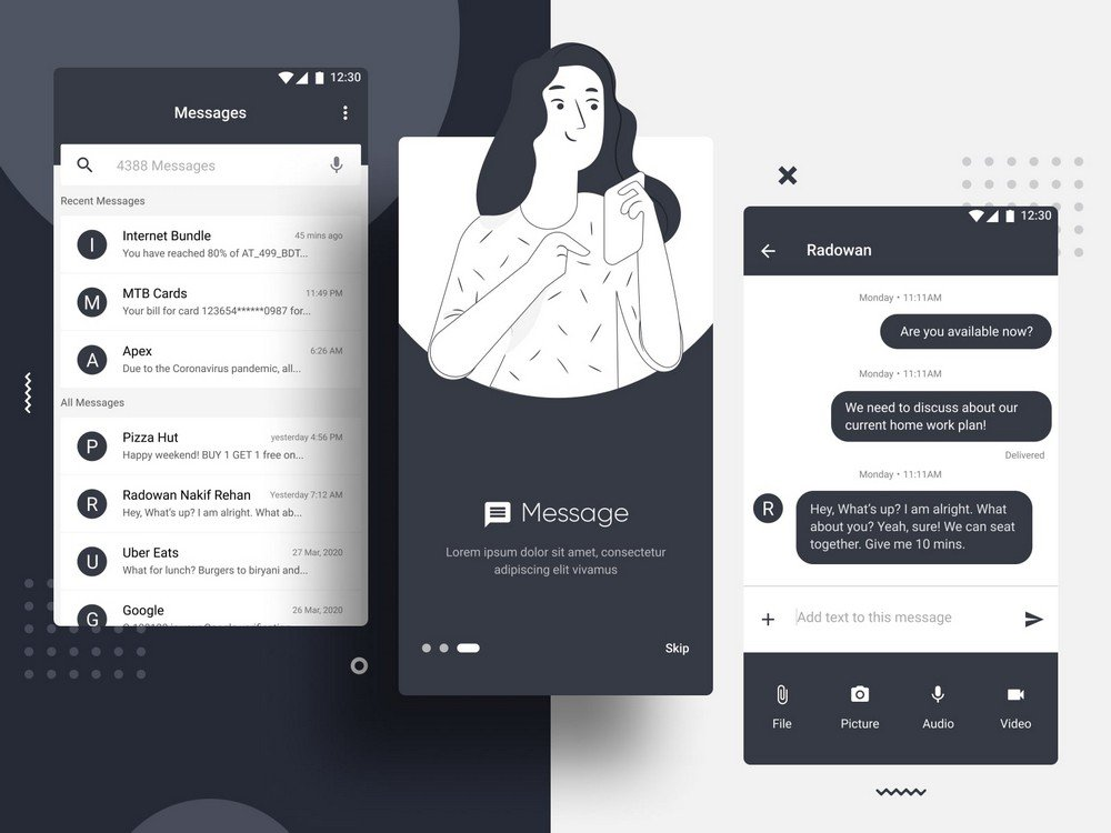 Free Figma Android Messaging App UI Kit