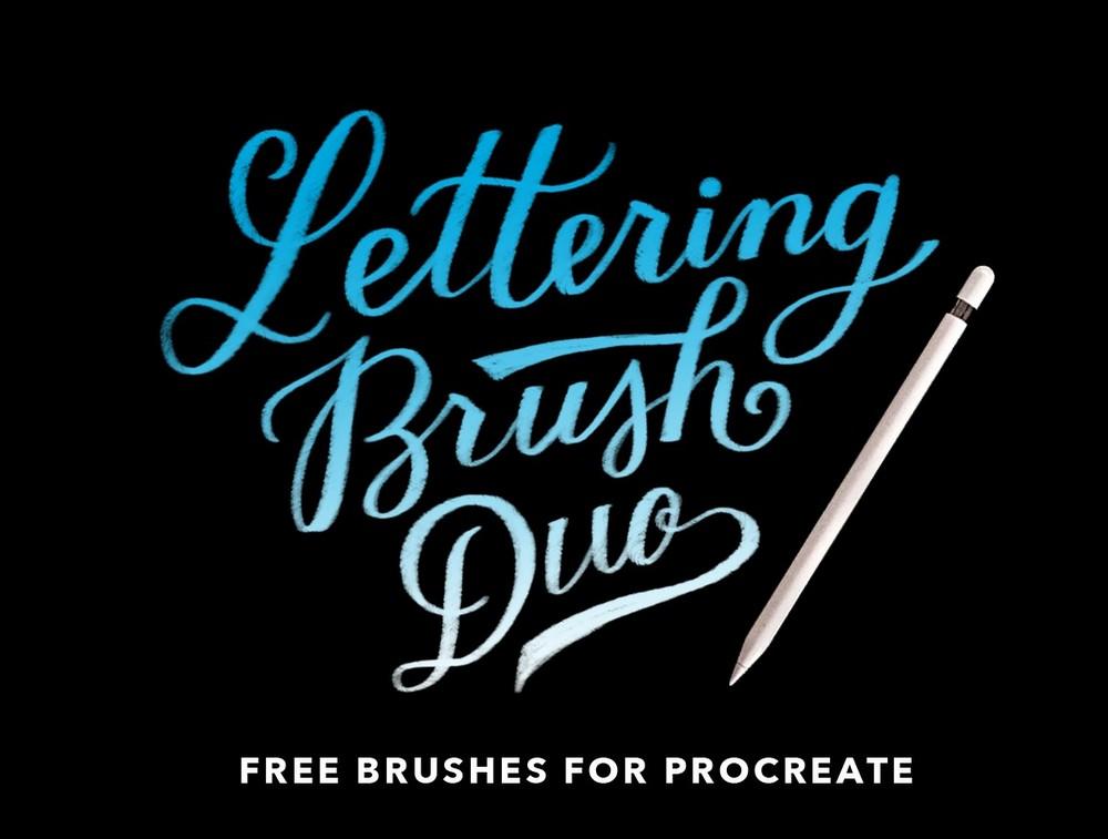 Free Procreate Lettering Brush Duo
