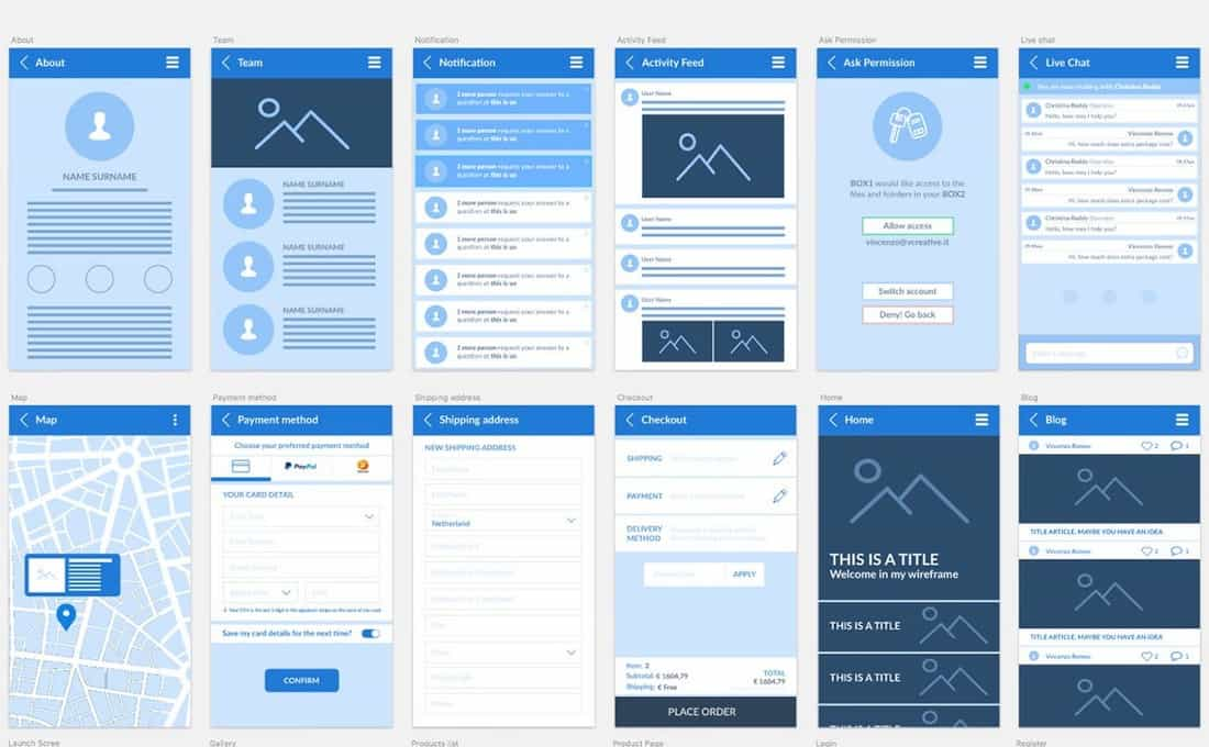 Free Sketch Mobile Wireframe Kit