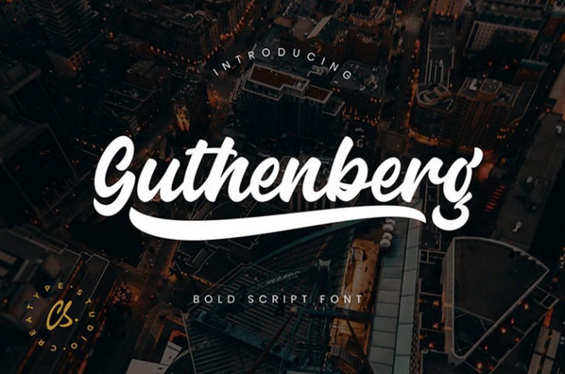 Guthenberg - Free Script Baseball Font