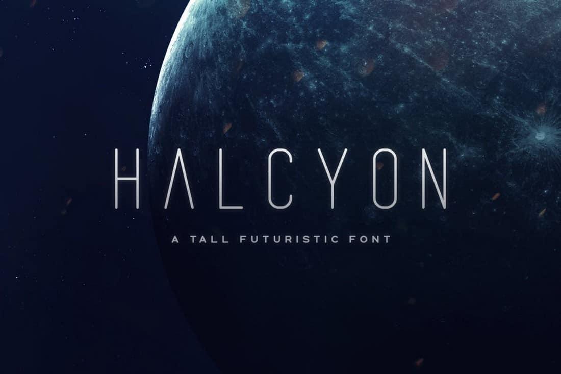 Halcyon - Slim Futuristic Font