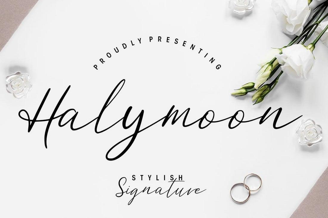 Halymoon - Font Naskah Pernikahan Bergaya