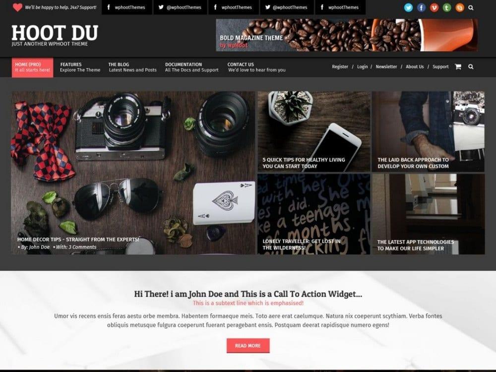 Hoot Du - Tema Fotografi WordPress Gratis