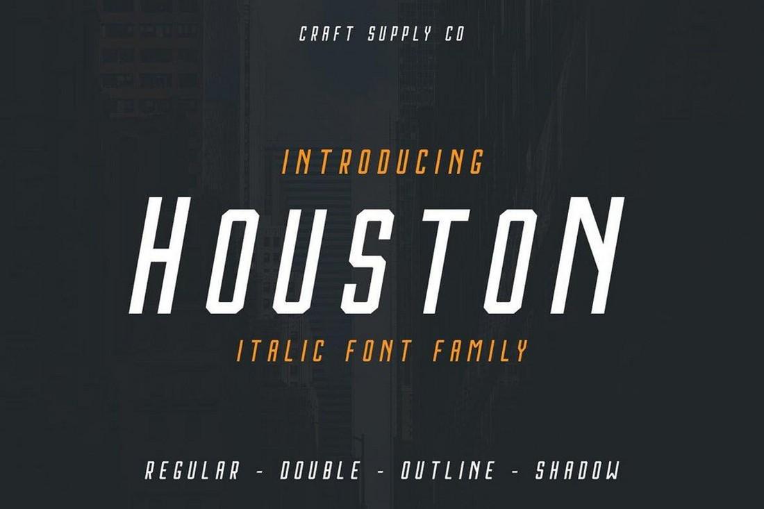 Houston Italic Baseball Font Family