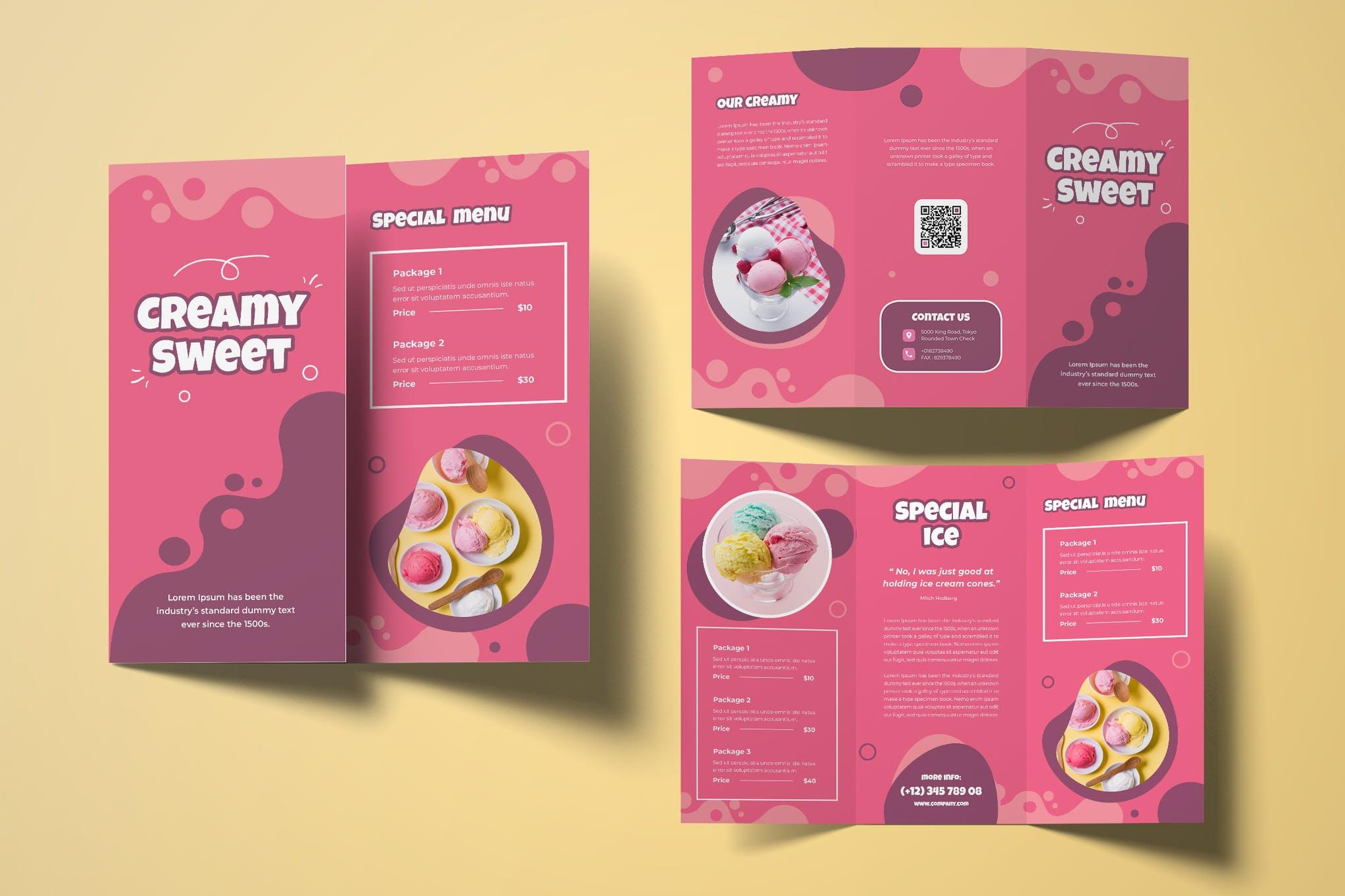 Ice Cream Trifold Brochure Template