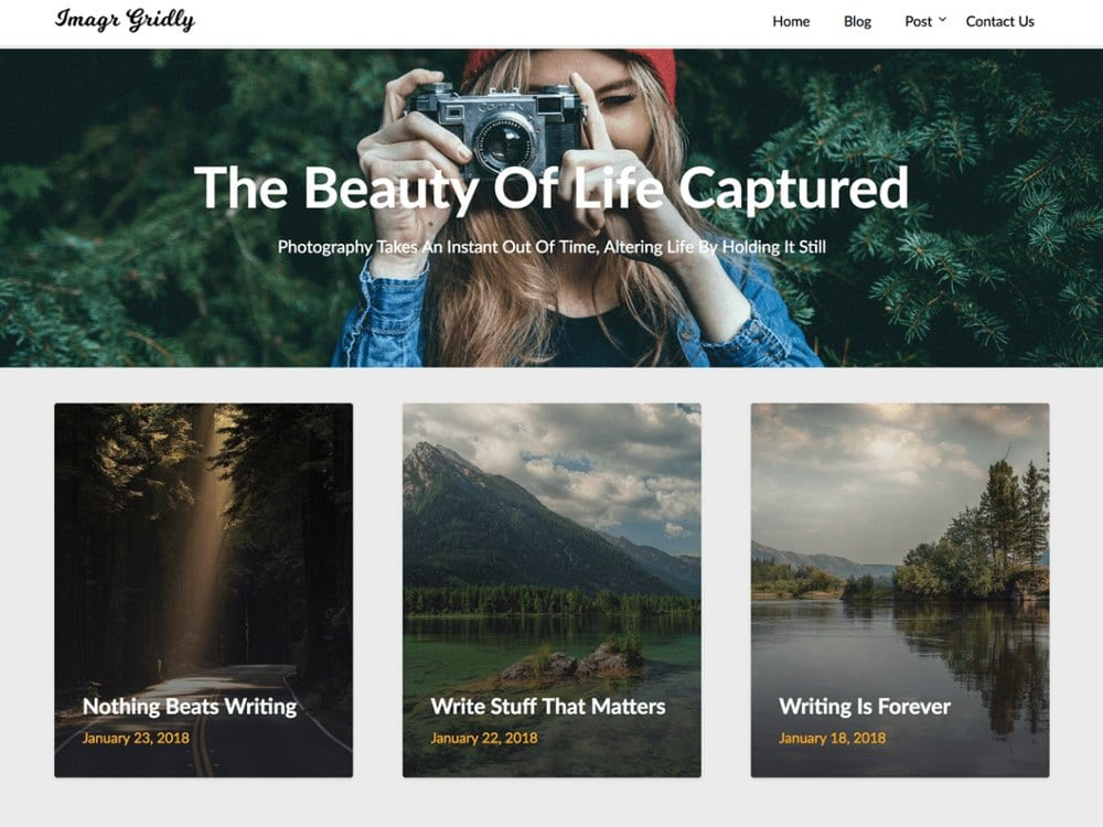 ImageGridly - Tema Fotografi WordPress Gratis
