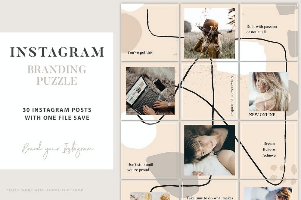 Instagram Grid Branding Puzzle Template