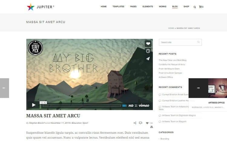 Blog Review Tema Jupiter WordPress