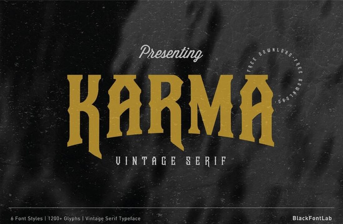 Karma - Font Logam Berat Vintage Gratis
