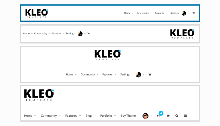 Kleo Theme Header Layouts