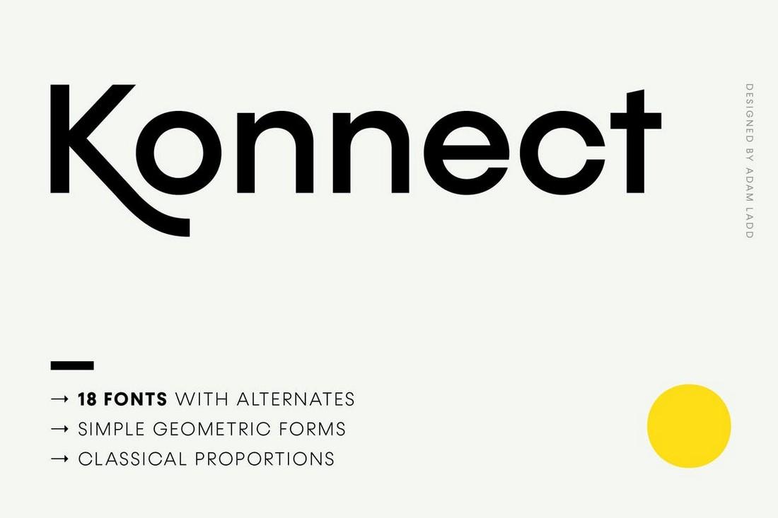 Konnect - Keluarga Font Geometris Modern