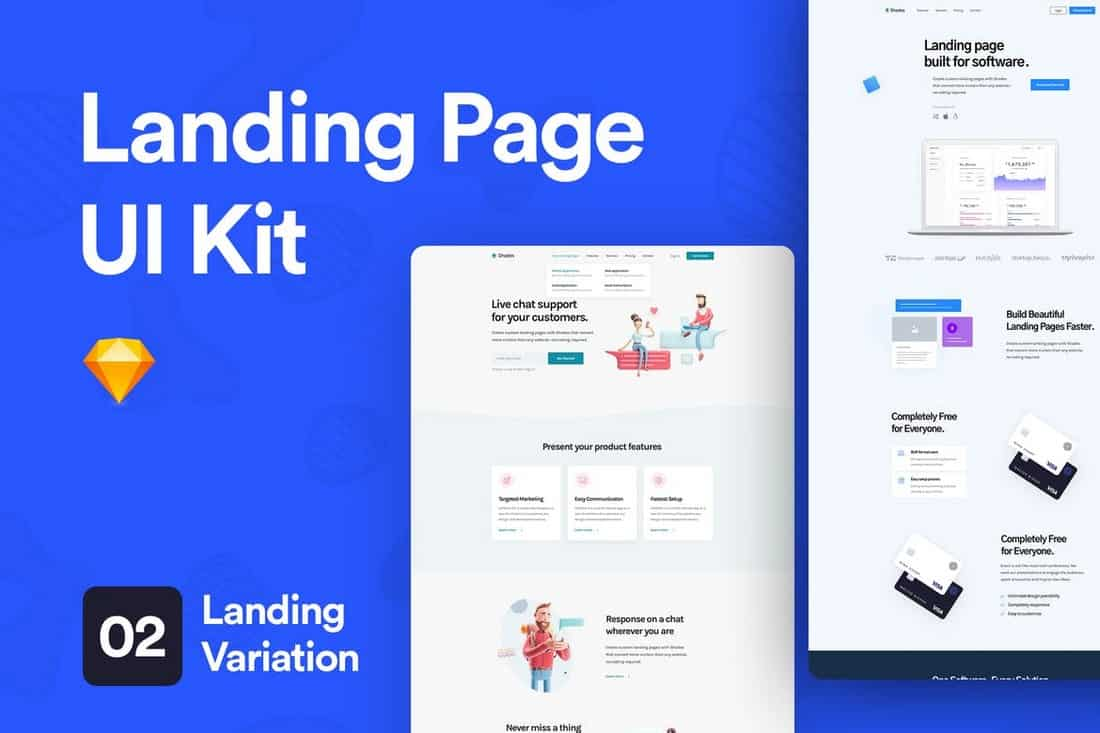 Landing Page UI Kit for Sketch