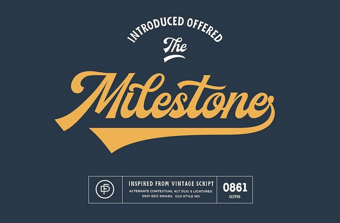 Milestone - Free Vintage Baseball Font
