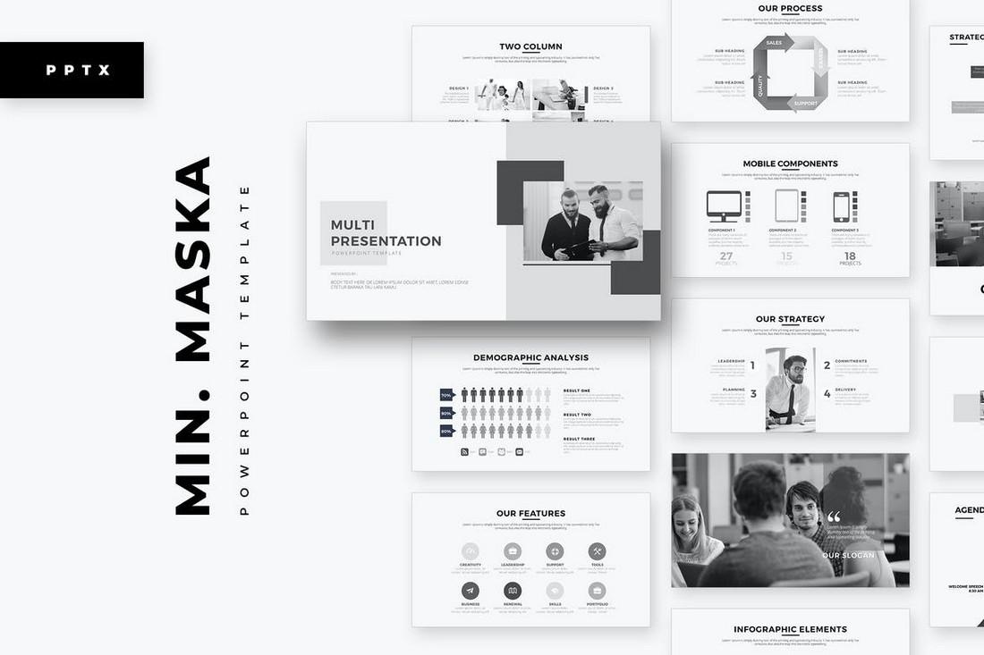 Minimal Maska - B&W PowerPoint Template