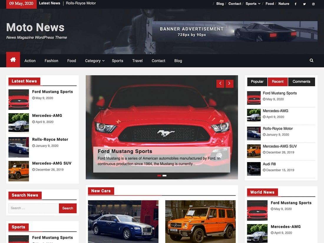 Moto News - Free WordPress Automobile News Theme