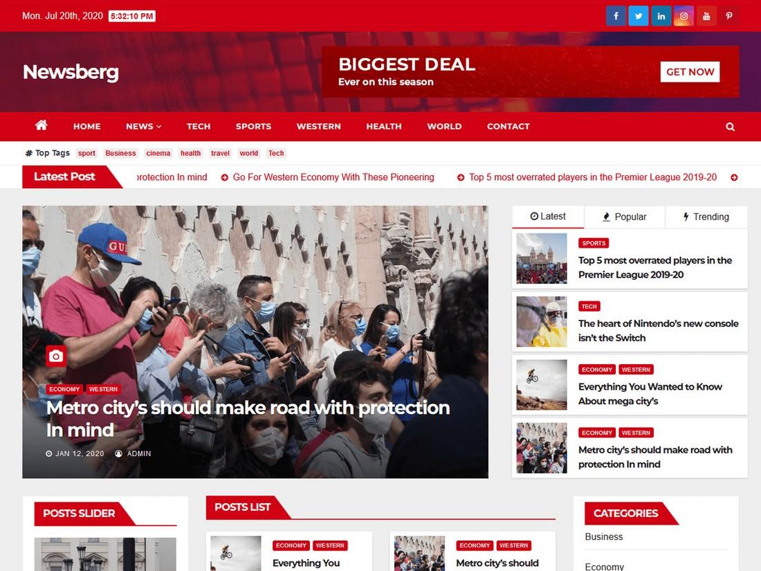 Newsberg - Free WordPress Theme for News Websites