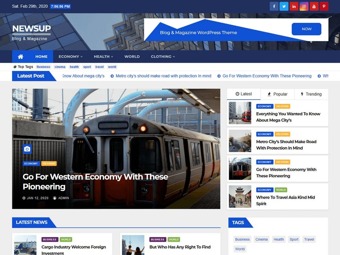 Newsup - Free News WordPress Theme