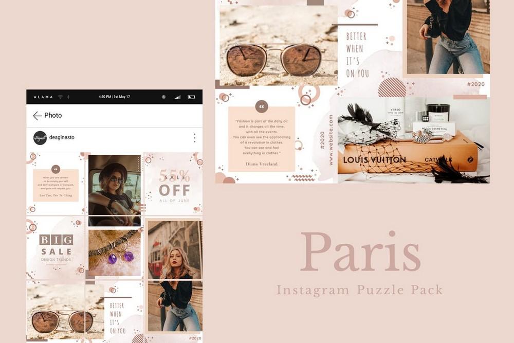 Paris - Instagram Puzzle Grid Templates