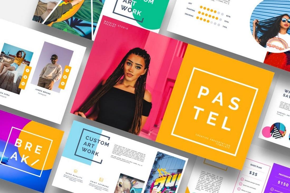 Pastel - Template Powerpoint Seni Berwarna-warni