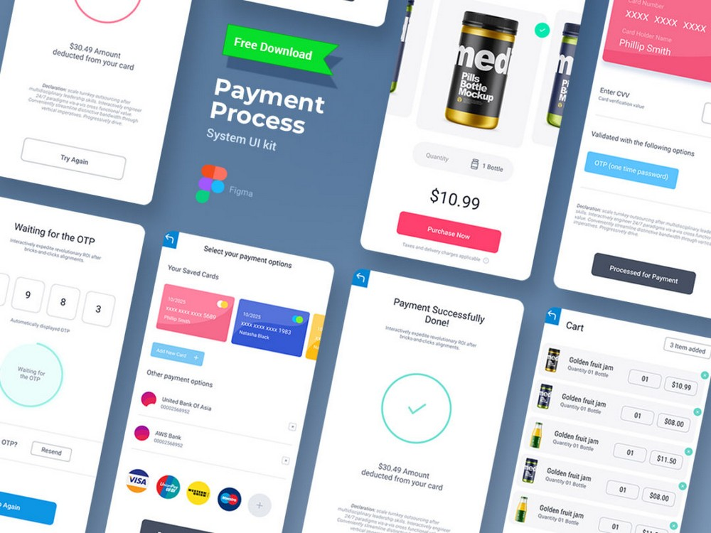 Payment Transaction Free Figma Mobile UI Kit