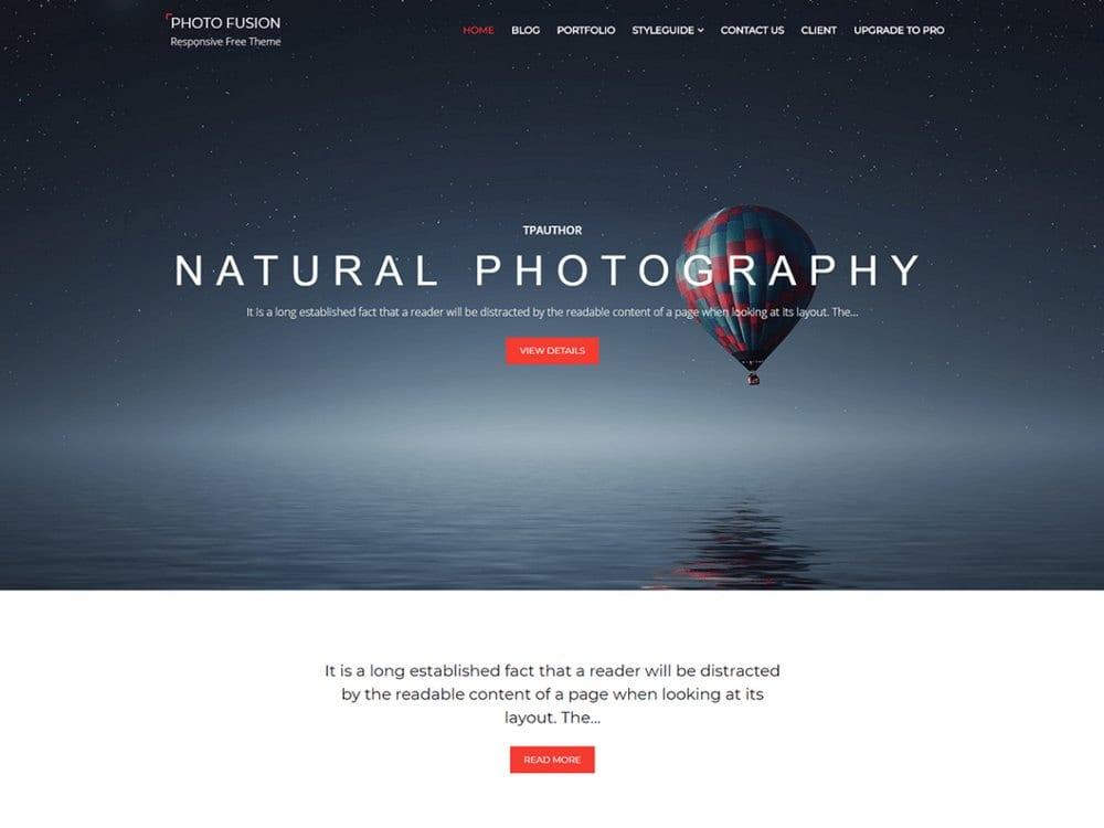 Photo Fusion - Tema Fotografi WordPress Gratis