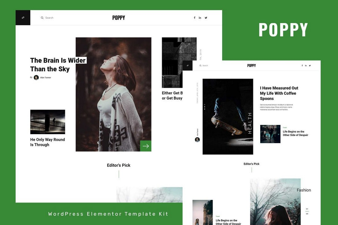 Poppy - Blog & Magazine Elementor Template Kit