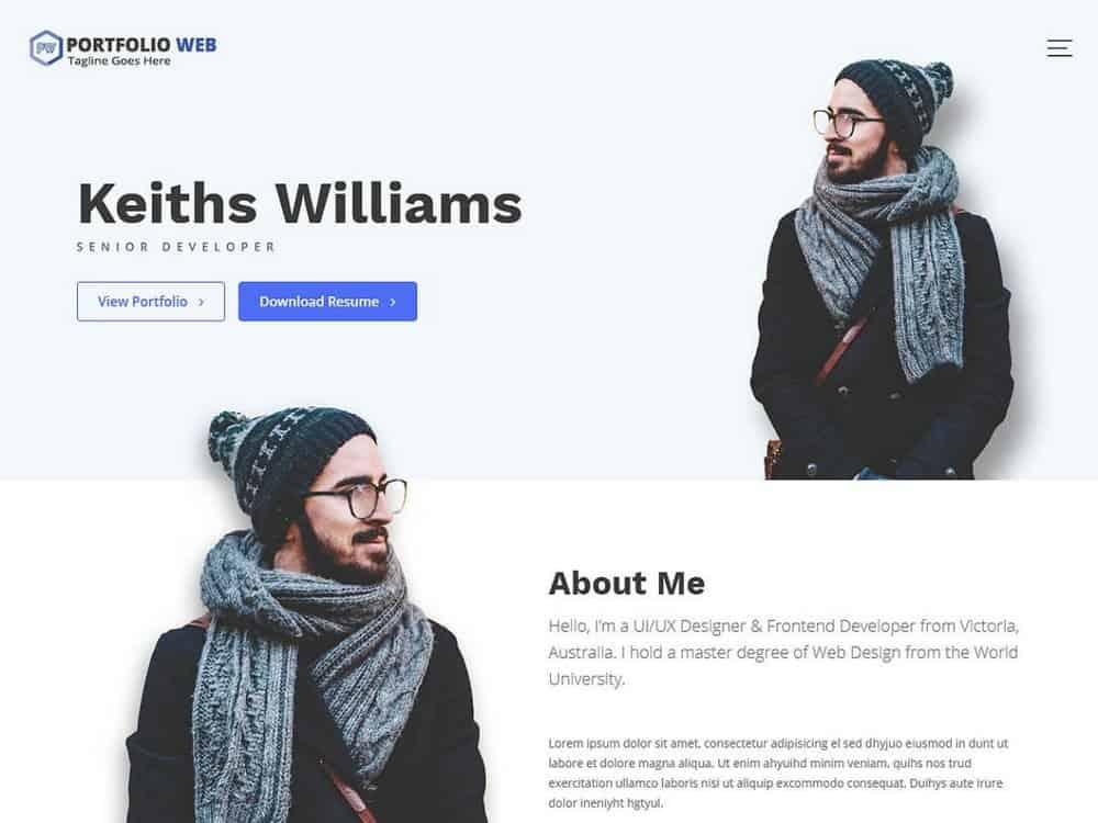 Portfolio Web - Free Portfolio WordPress Theme