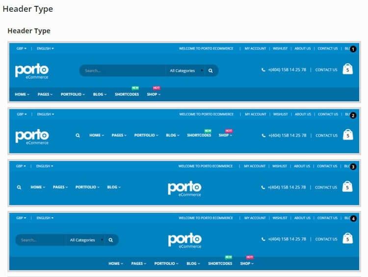 Jenis Header Ulasan Tema Porto WordPress