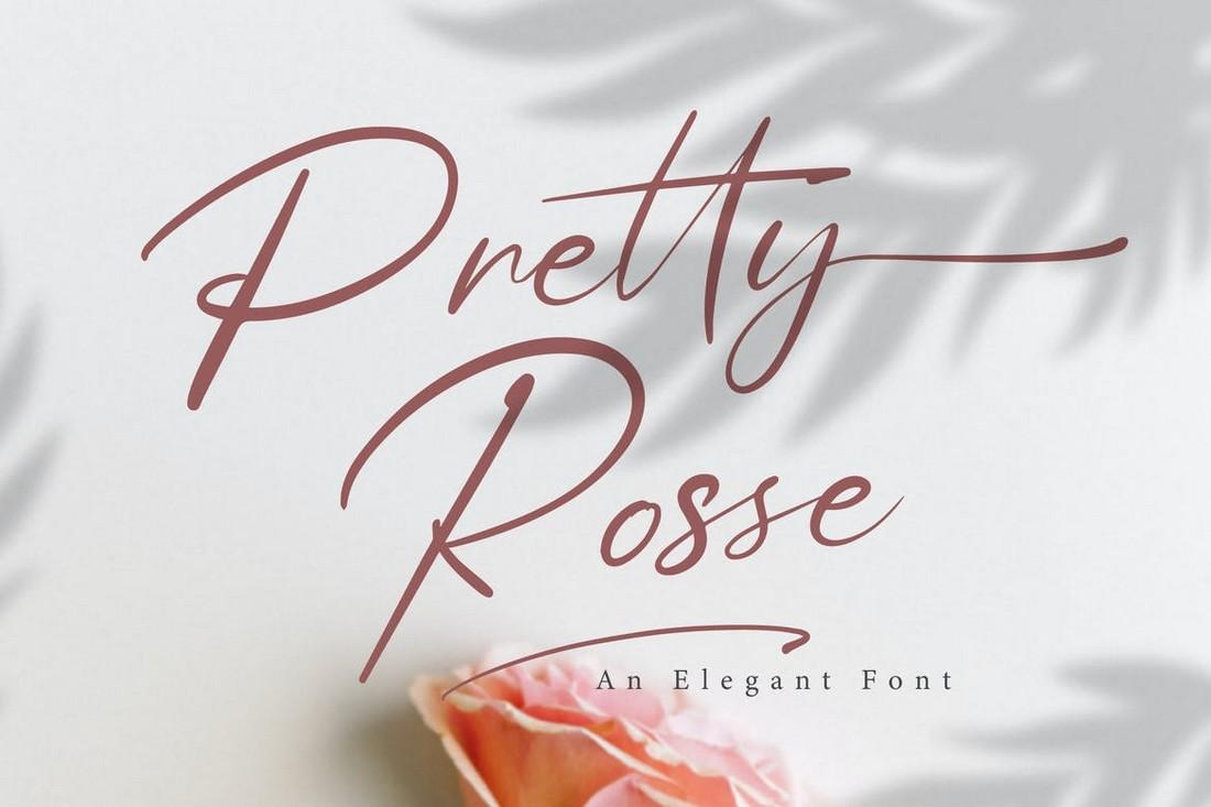 Pretty Rose - Font Pernikahan Skrip Tanda Tangan