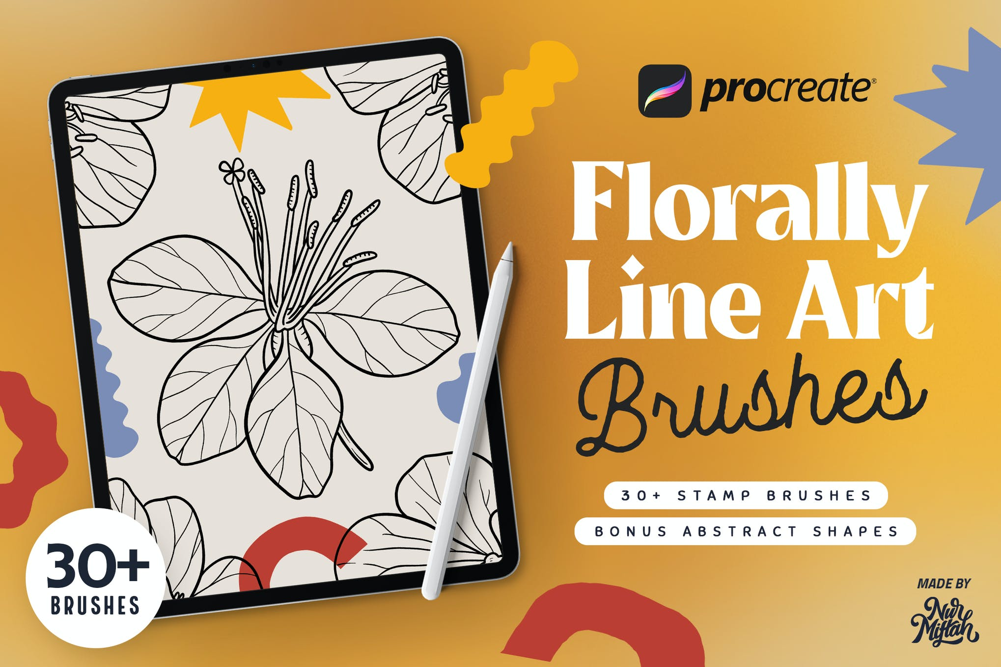Procreate Florally Line Art Brushes