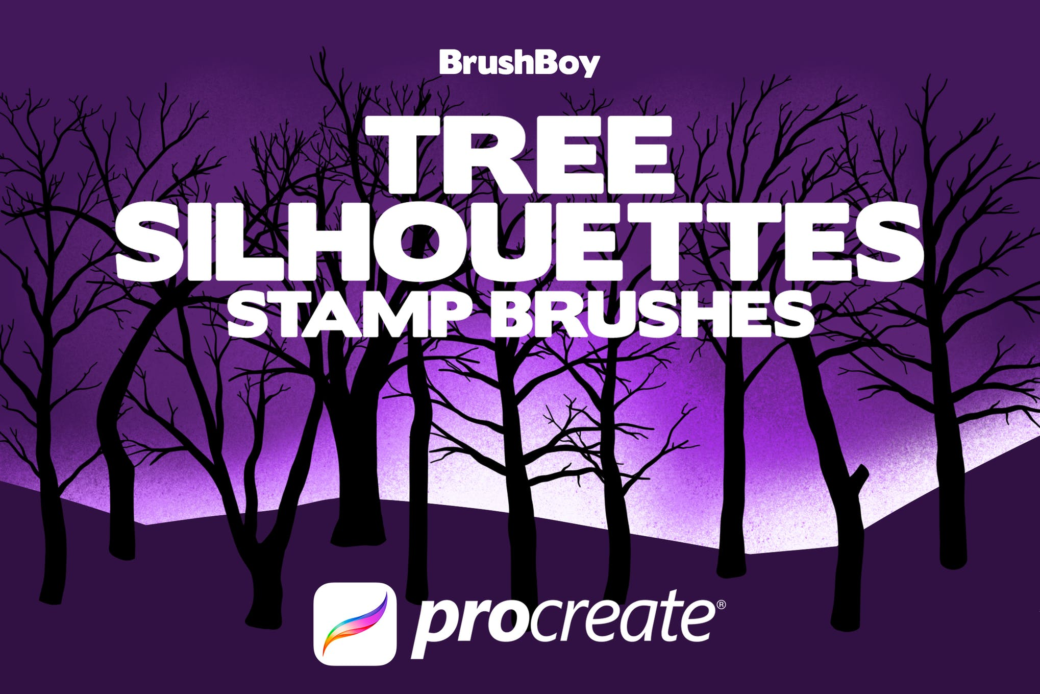 Procreate Tree Silhouette Stamp Brushes