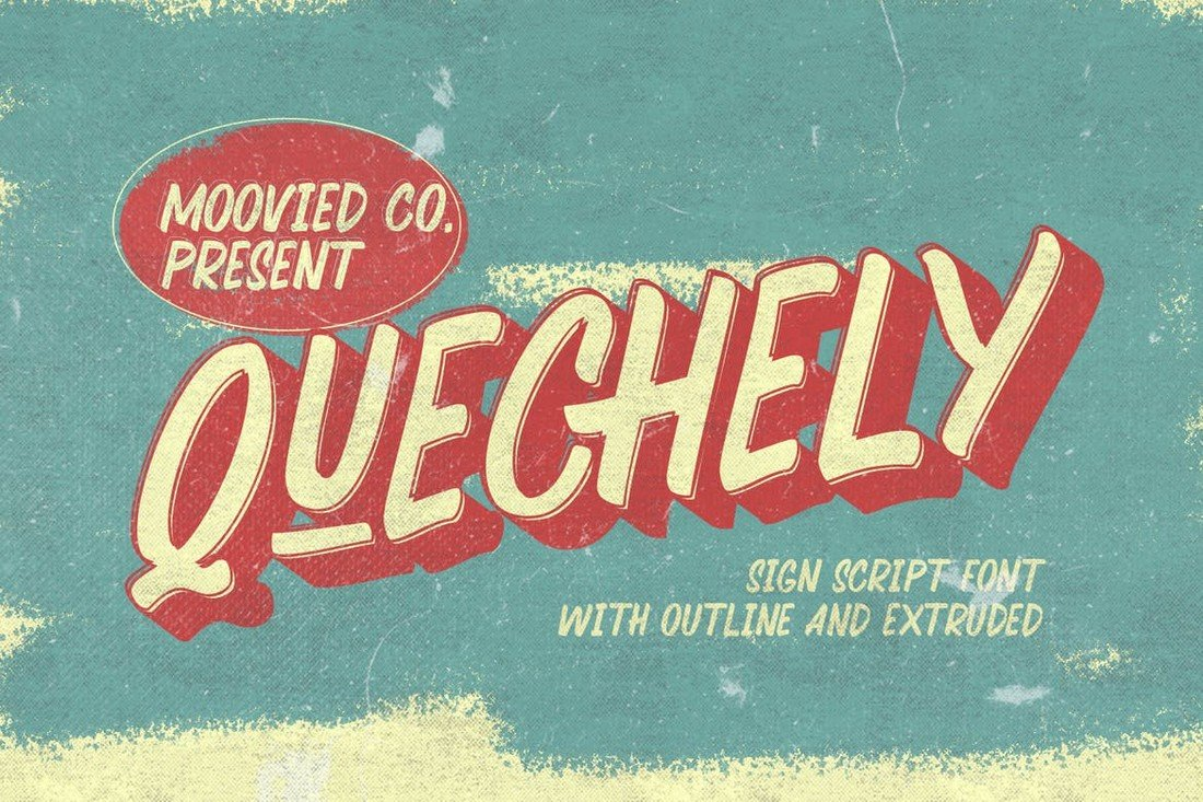 Quechely Sign - Retro Layered Font