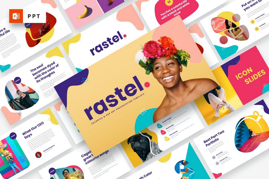 RASTEL - Template Powerpoint Penuh Warna & Seni Pop