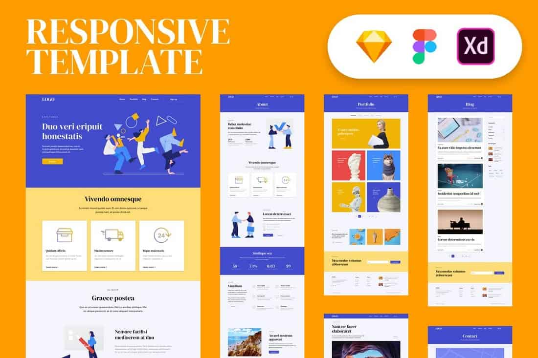 Responsive Website Sketch Template