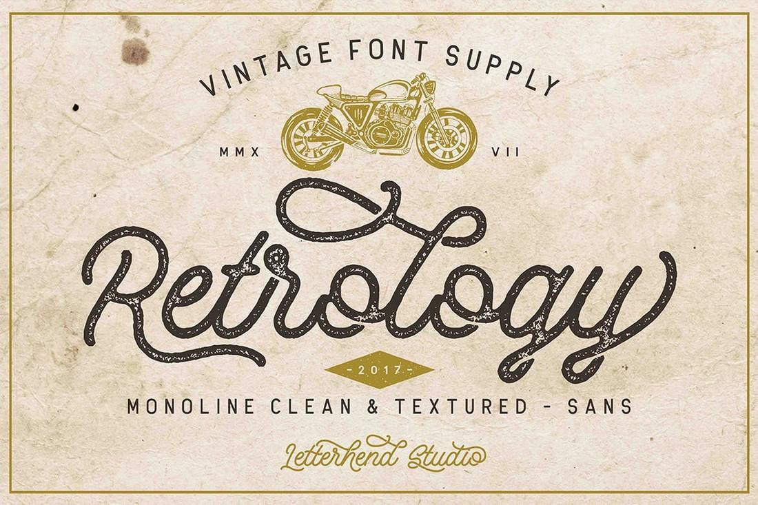 Retrology - Retro Monoline Script Font