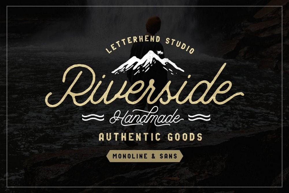 Riverside - Vintage Monoline Font Duo