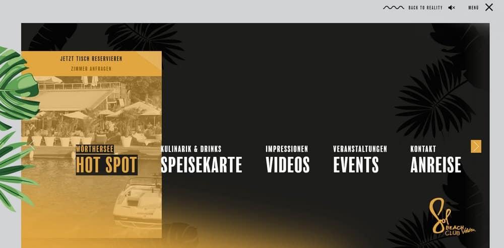 SOL hotel menu