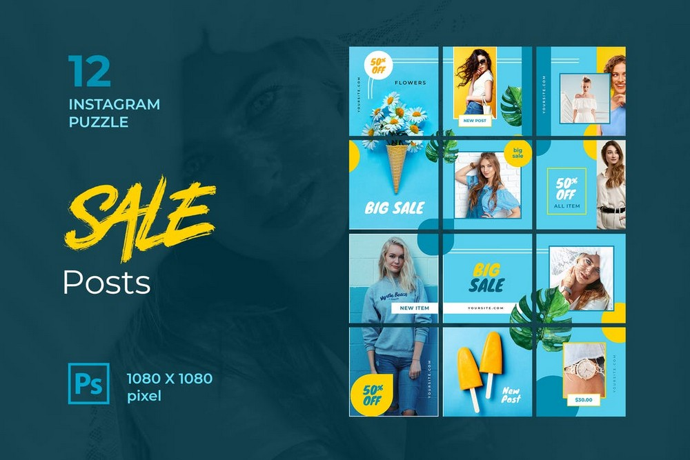 Sale - Instagram Puzzle Grid Template
